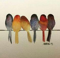 vogeltjes aquarel